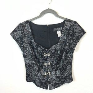 Fabulous 80s Vintage Fitted Brocade Top Size Small